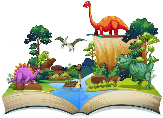 Libro de dinosaurios en el bosque.