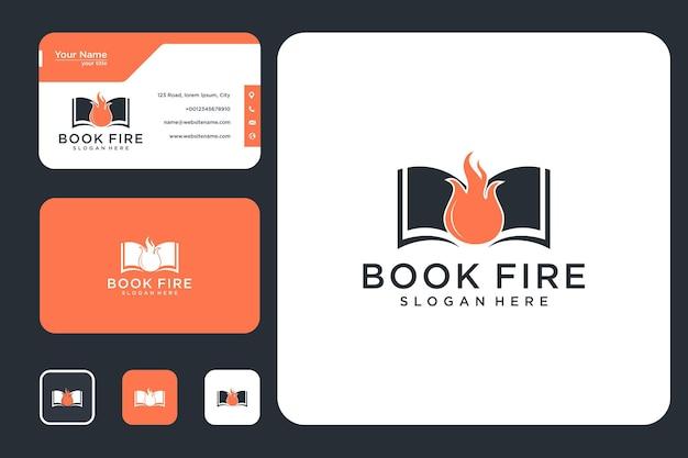 Libro con diseño de logotipo de podcast de fuego y tarjeta de visita