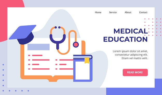 Libro de educación médica aprender literatura estetoscopio sombrero campaña de posgrado