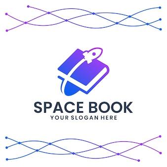 Libro espacial, plantilla de logotipo