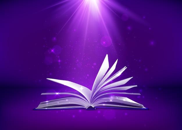 Libro de fantasía con destellos de luz mágica y estrellas.