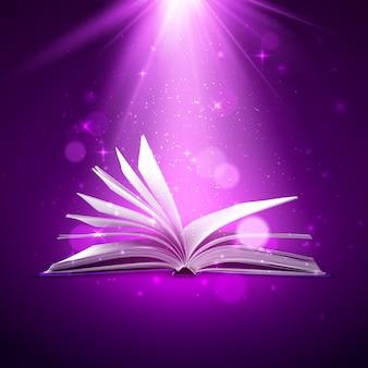 Libro de fantasía con luz mágica y destellos.