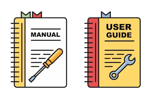 Libro guía del usuario: iconos de manual o instrucciones, libro en espiral con herramientas