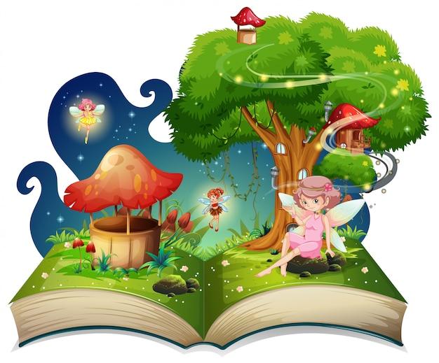 Libro con hadas volando alrededor del árbol