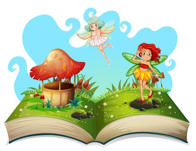 Libro de hadas volando en el jardín