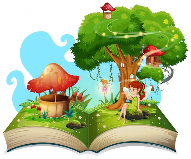 Libro con hadas volando en el jardín