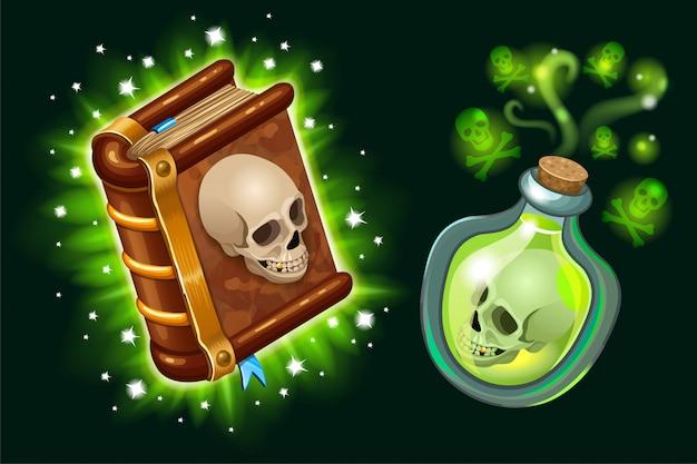 Libro de hechizos y elixir mágico.