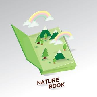 Libro de ideas de la naturaleza. arte de papel del medio ambiente. salva la tierra.