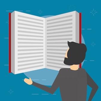 Libro de lectura de hombre de negocios, estilo plano