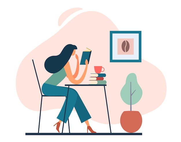 Libro de lectura de mujer inteligente en café. ilustración de dibujos animados