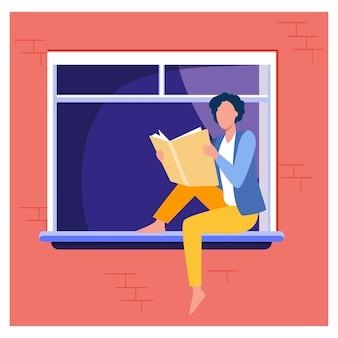 Libro de lectura de mujer joven en el alféizar de la ventana. chica disfrutando de la novela, estudiante haciendo ilustración de vector plano de tarea en casa. conocimiento, literatura, lector