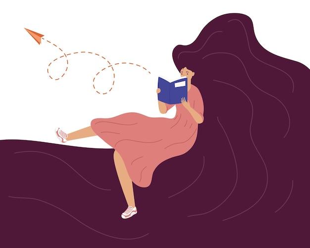 Libro de lectura de mujer con papel de avión, diseño de ilustración de celebración del día del libro