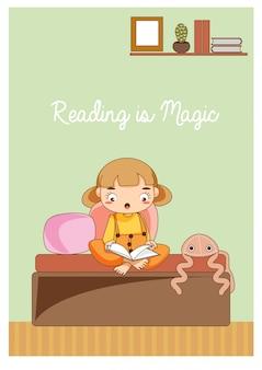 Libro de lectura de niña linda de dibujos animados en la habitación de los niños