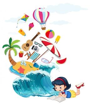 Libro de lectura de niña con tema de verano