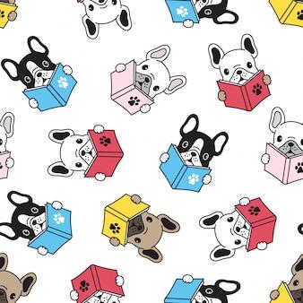 Libro de lectura de perro bulldog francés de patrones sin fisuras