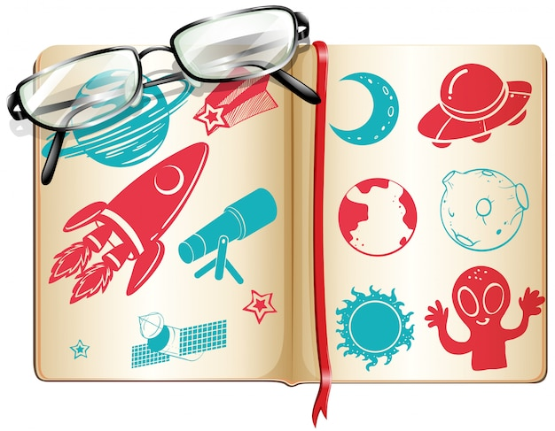Libro lleno de símbolos de la ciencia.