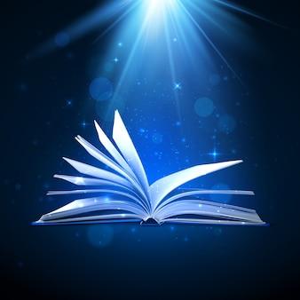 Libro mágico abierto sobre fondo azul con luz de fantasía y destellos