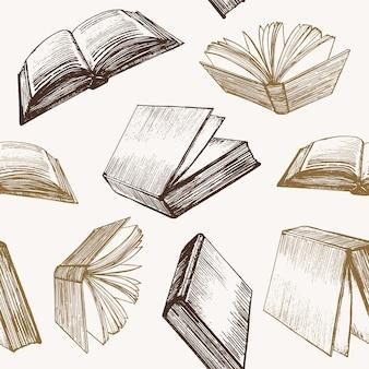 Libro mano dibujar boceto patrón fondo estilo retro diseño web