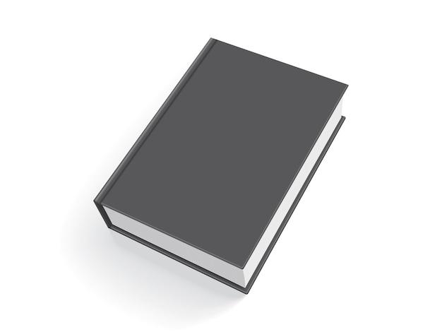 Libro negro con tapa gruesa aislado sobre fondo blanco.