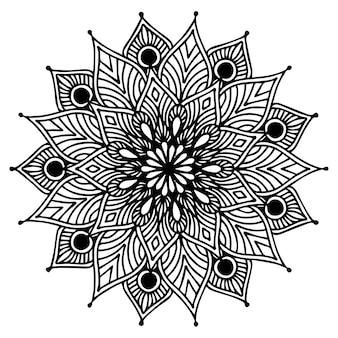 Libro para colorear mandalas, forma de flor, terapia oriental, logotipos de yoga.