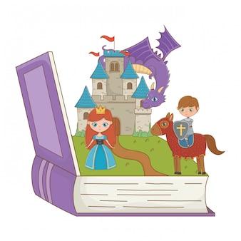 Libro y personaje de cuento de hadas.