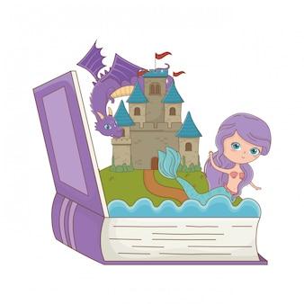 Libro y personaje de la ilustración de vector de diseño de cuento de hadas