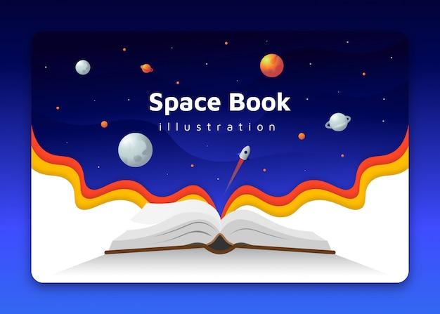 Libro plano abierto con planetas espaciales y concepto de fondo de cohete
