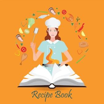 Libro de recetas abierto con mujer cocinando