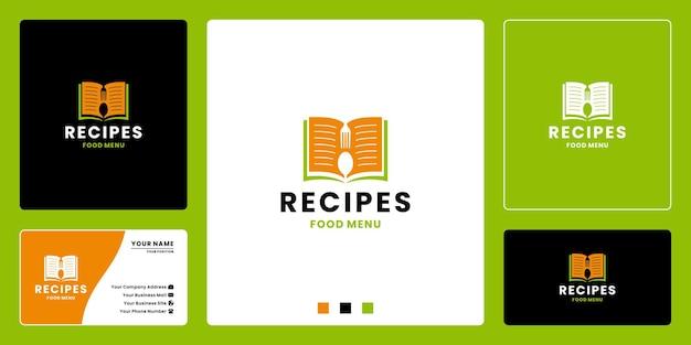 Libro de recetas, diseño de logotipo de restaurante de menú.
