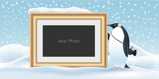 Libro de recuerdos con ilustración de fondo de año nuevo, navidad o invierno