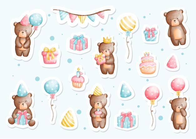 Libro de recuerdos y planificador de pegatinas de fiesta de cumpleaños de oso de peluche de acuarela