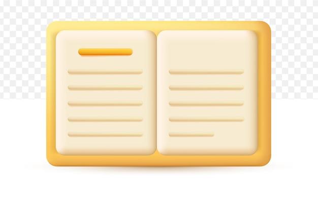Libro, revista, icono de diario. concepto de educación. ilustración de vector 3d sobre fondo blanco transparente