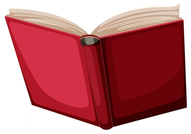 Un libro rojo sobre fondo blanco
