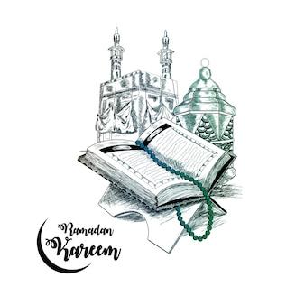El libro sagrado del corán en el estrado con mezquita y lámpara