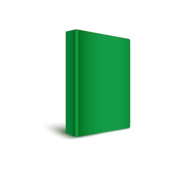 Libro de tapa dura en blanco de pie verticalmente en ilustración realista de color verde.