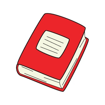 Un libro de tapa dura cerrado. garabatear. símbolo de estudio, aprendizaje, educación, escuela. dibujado a mano