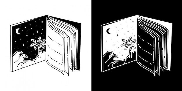 Libro de tatuaje playa diseño monoline