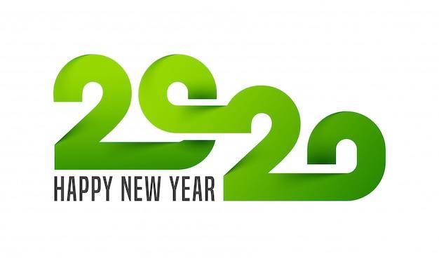 Libro verde corte texto de 2020 en blanco para la celebración de feliz año nuevo.