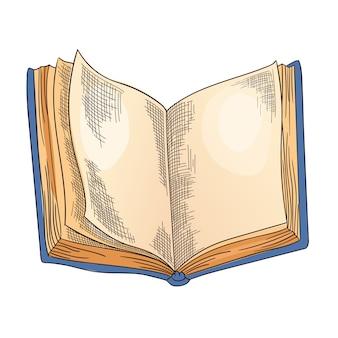 Libro viejo. viejo libro abierto con página vacía, papel de pergamino.