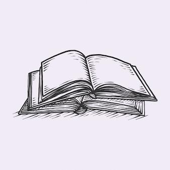 Libro vintage dibujado a mano
