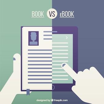 Libro vs ebook Vector Premium