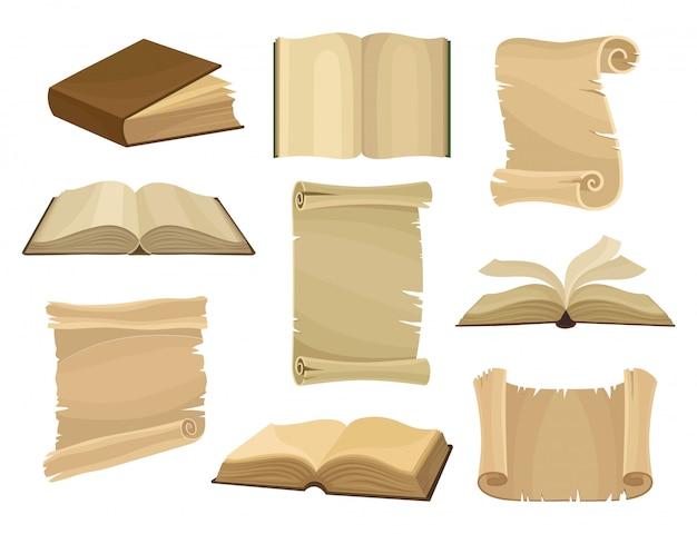 Libros antiguos y rollos de papel o pergaminos establecen ilustración sobre un fondo blanco.