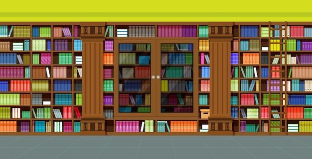 Libros en la biblioteca con armarios y escaleras.
