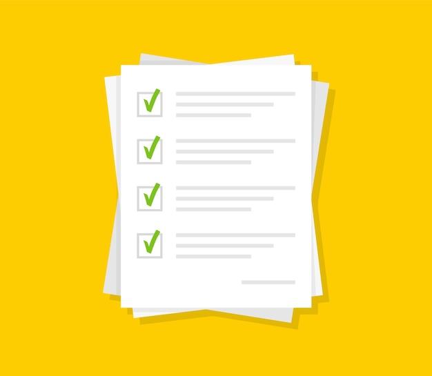 Libros blancos de papel con marcas de verificación verdes