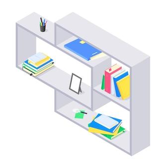 Libros y cancillería en estantería de madera gris en isométrica