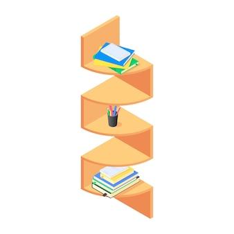 Libros y cancillería en estantería de madera marrón en isométrica