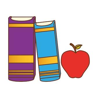 Libros de colores junto a una manzana.