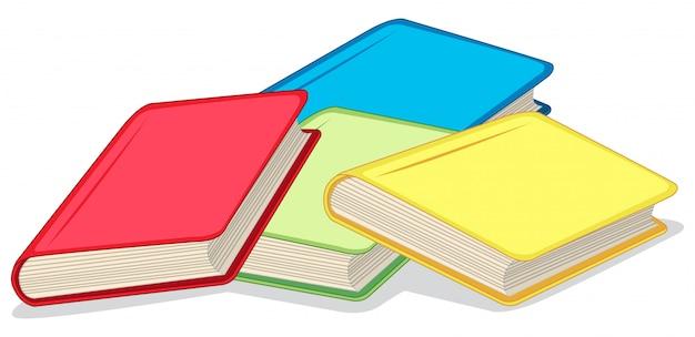 Libros coloridos en blanco