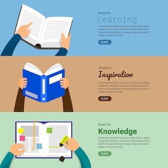 Libros de conceptos. educación y aprendizaje con la mano y leyendo libros. ilustrar.