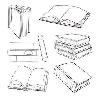 Libros dibujados a mano, revistas en papel y libros de texto escolares.